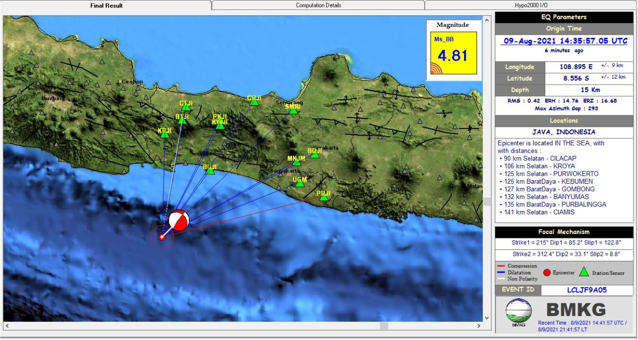 Gempa bumi berkekuatan M 4.8 mengguncang Cilacap, Jawa Tengah pada Senin (9/8/2021) malam.