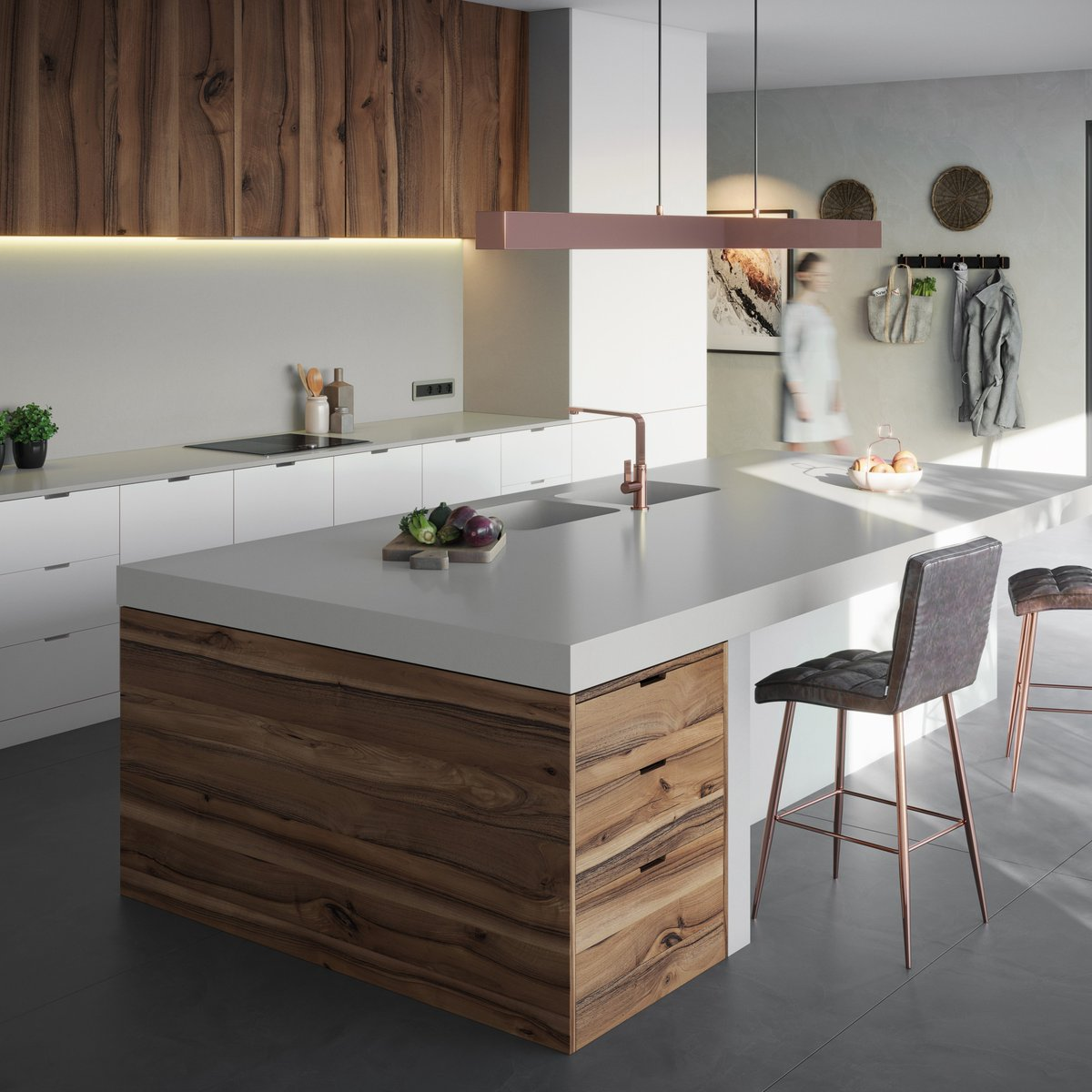 Cincel Grey is a neutral, adaptable grey that balances easily between warm and cool tones. Pair it with polished metals and rustic finishes to create the most stunning minimalist spaces: bit.ly/3gQlNrv #Silestone #HybriQTechonology