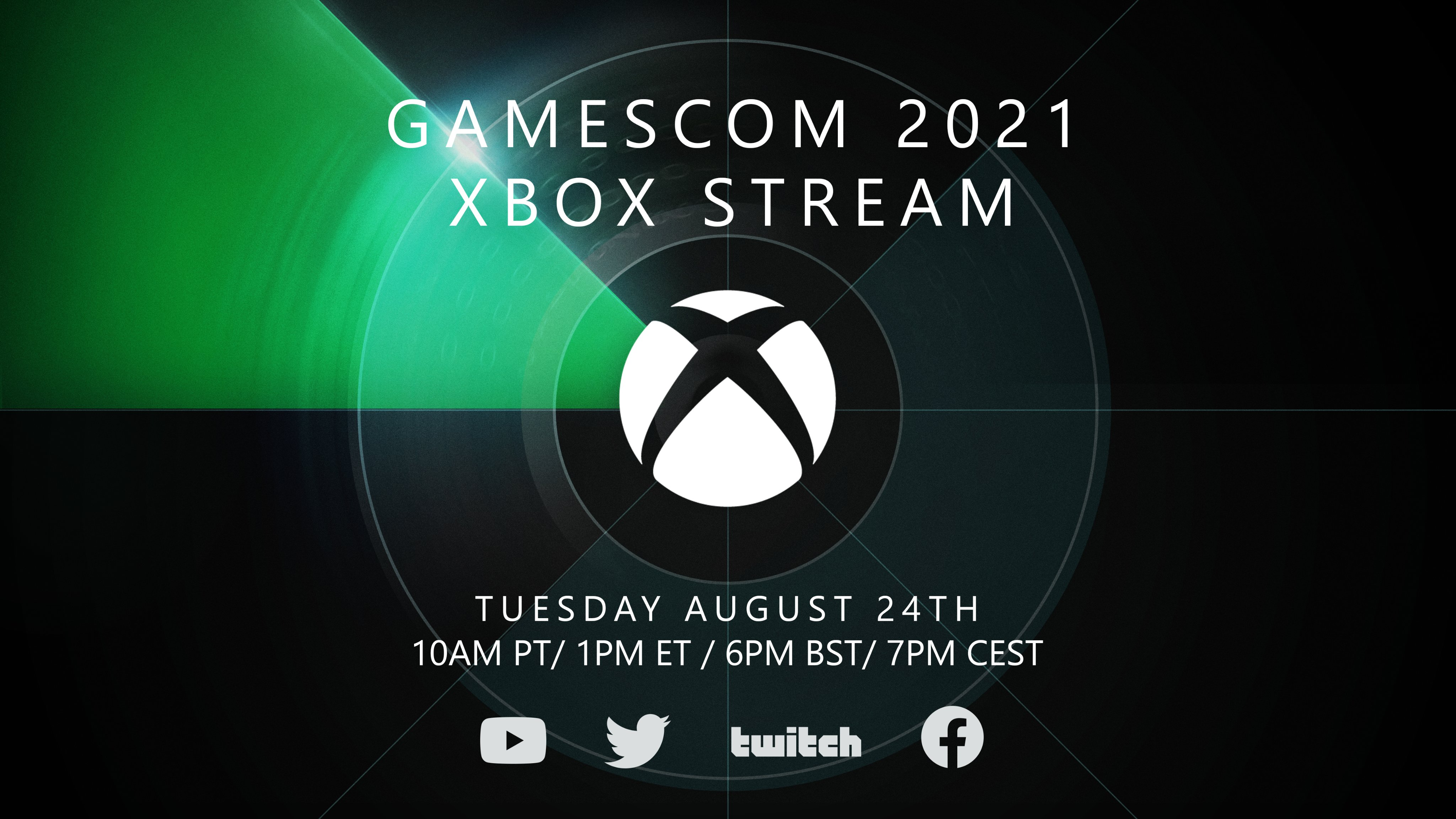 GAMESCOM 2021 XBOX 2021. Tuesday August 24th. 10am PT/1pm ET/6pm BST/7pm CEST. YouTube, Twitter, Twitch, and Facebook logos are shown.
