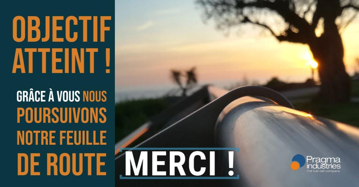 Nous avons dépassé notre objectif d'un million d'euros collectés ! Merci à tous les @wiseed(ers) qui nous font confiance ! Merci à tous, grâce à vous, nous poursuivons notre feuille de route. #h2invest #energy #hydrogen