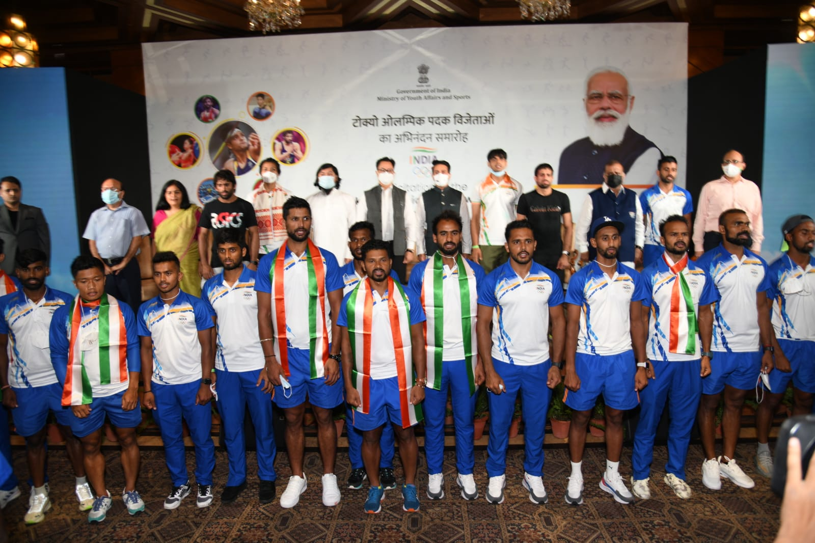 The government felicitates medal winners in a grand ceremony upon return from the Olympics, from Neeraj Chopra to Indian hockey
