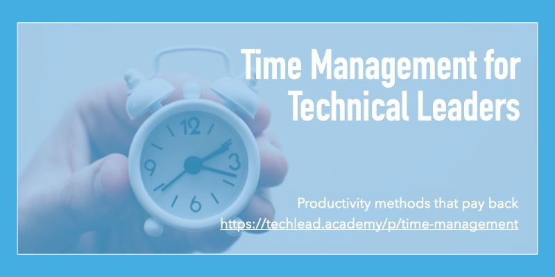 As an individual contributor, your team process typically manages your time. This surprises first-time technical leaders and it never feels like you have enough time. Learn how to manage your time using this self-driven course techlead.academy/p/time-managem…