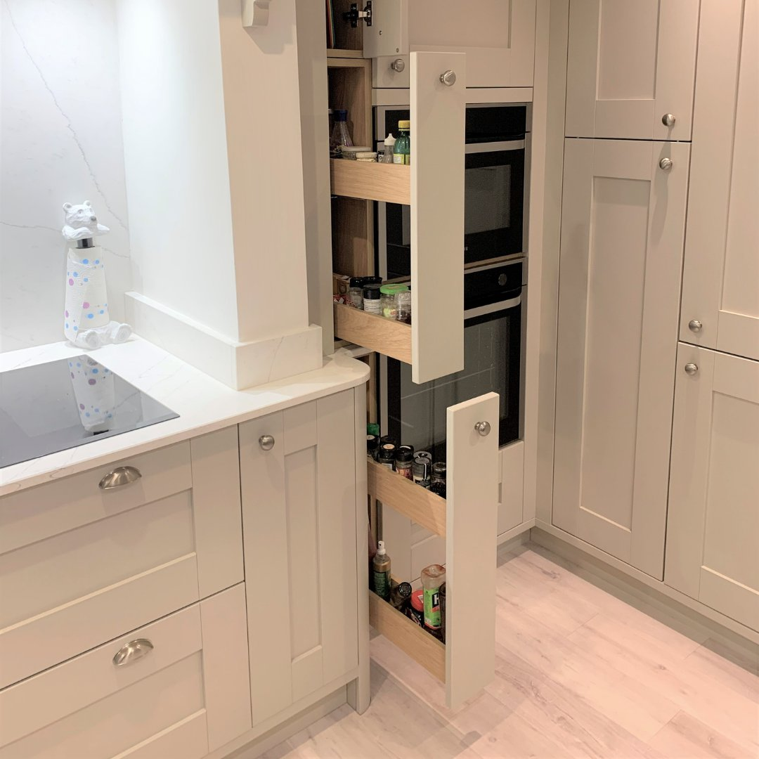 Our MagnaSpace pull-out is a versatile storage feature that works in kitchens of all sizes. Take a look at our mini base MagnaSapce in Portland Oak