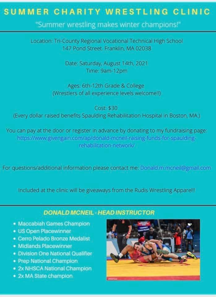 Tri-County RVTHS Athletics: Summer Charity Wrestling Clinic - Aug 14