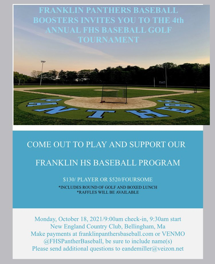 FHSBaseBoosters: Set the date for a fund raising golf tournament - Oct 18, 2021