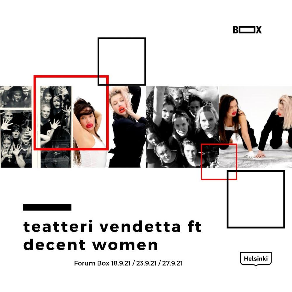 Improvisaation, tanssin ja kuvataiteen ammattilaiset feminismin äärellä: Improvisaatioteatteri Vendetta ja Decent Women yhdistävät voimansa ja jumppaavat patriarkaatin korruptoimia mieliään syksyn 2021 esityksessä Forum Boxissa. https://t.co/XJfv0APR6S https://t.co/jJQgHlLlpc