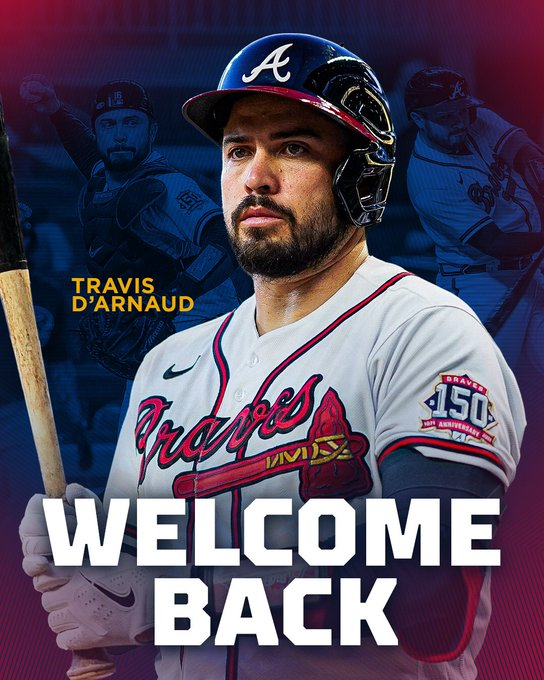"""This graphic features Travis d'Arnaud preparing to hit while walking up to the plate holding his bed in his hands with the words """"welcome back"""" in front of him."""
