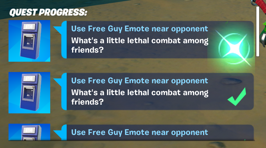Ifiremonkey On Twitter There Is A Glitch Where You Can Get The Use Free Guy Emote Near Opponent Challenge Infinite Times By Continuing To Interact With The Atm Npc Multiple Times Also