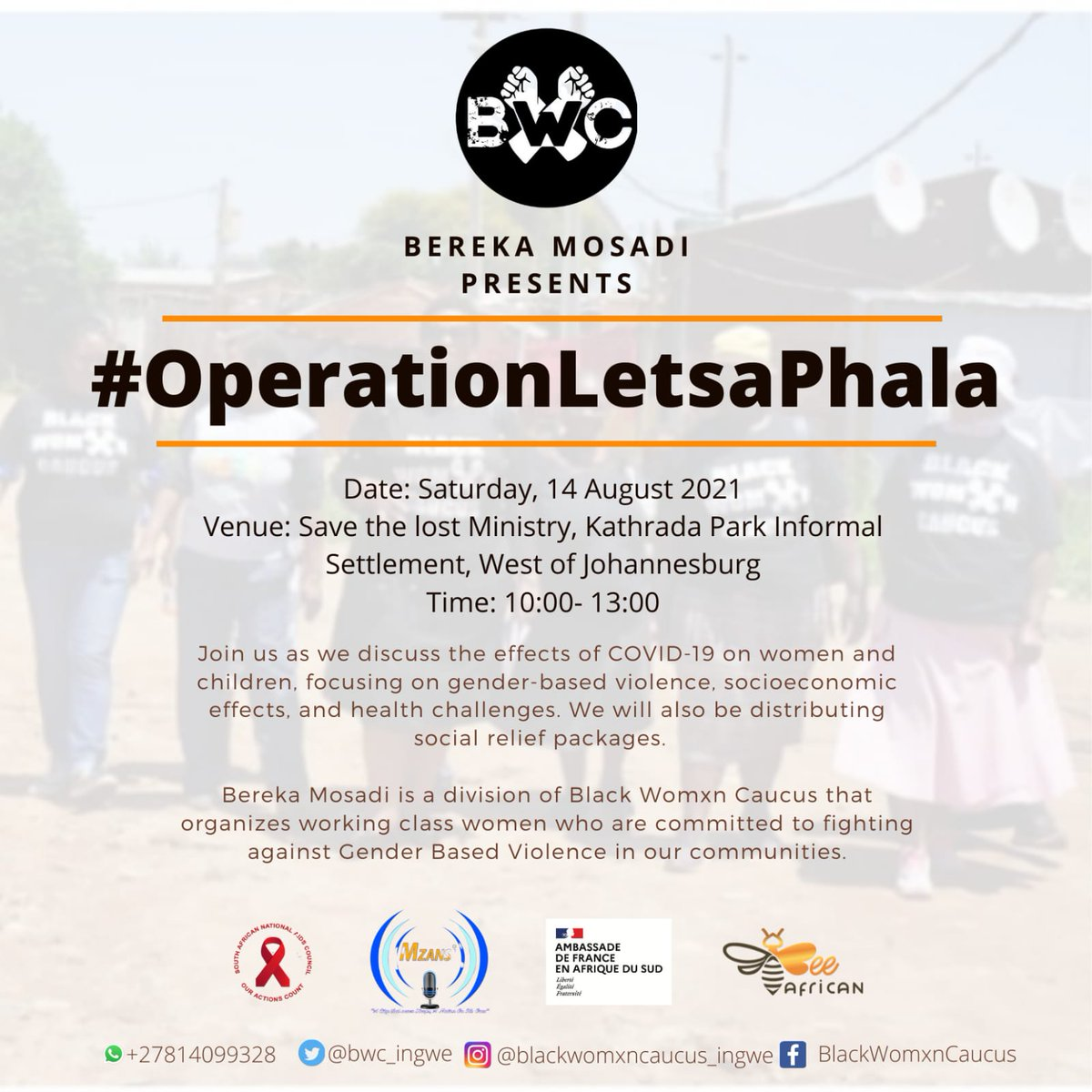 Chair @msletsike will be hosted by Bereka Mosadi, a division of @BWC_ingwe #OperationLetsaPhala, tomorrow 14 August in Kathrada Park Informal Settlement.  @msletsike will unpack the effects #COVID19 on womxn, health services & the continuous work @CsfSanac is doing in communities https://t.co/zuXfA2NFeH