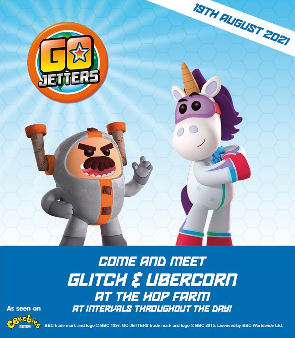 Get ready to meet GO JETTERS' UBERCORN AND GLITCH this Thursday 19th August, at intervals during the day, at The Hop Farm Family Park! Info here: https://t.co/271AjaBZiX #gojetters @GoJetters @KMWhatsOn #summerfun https://t.co/SIljx9Lem7