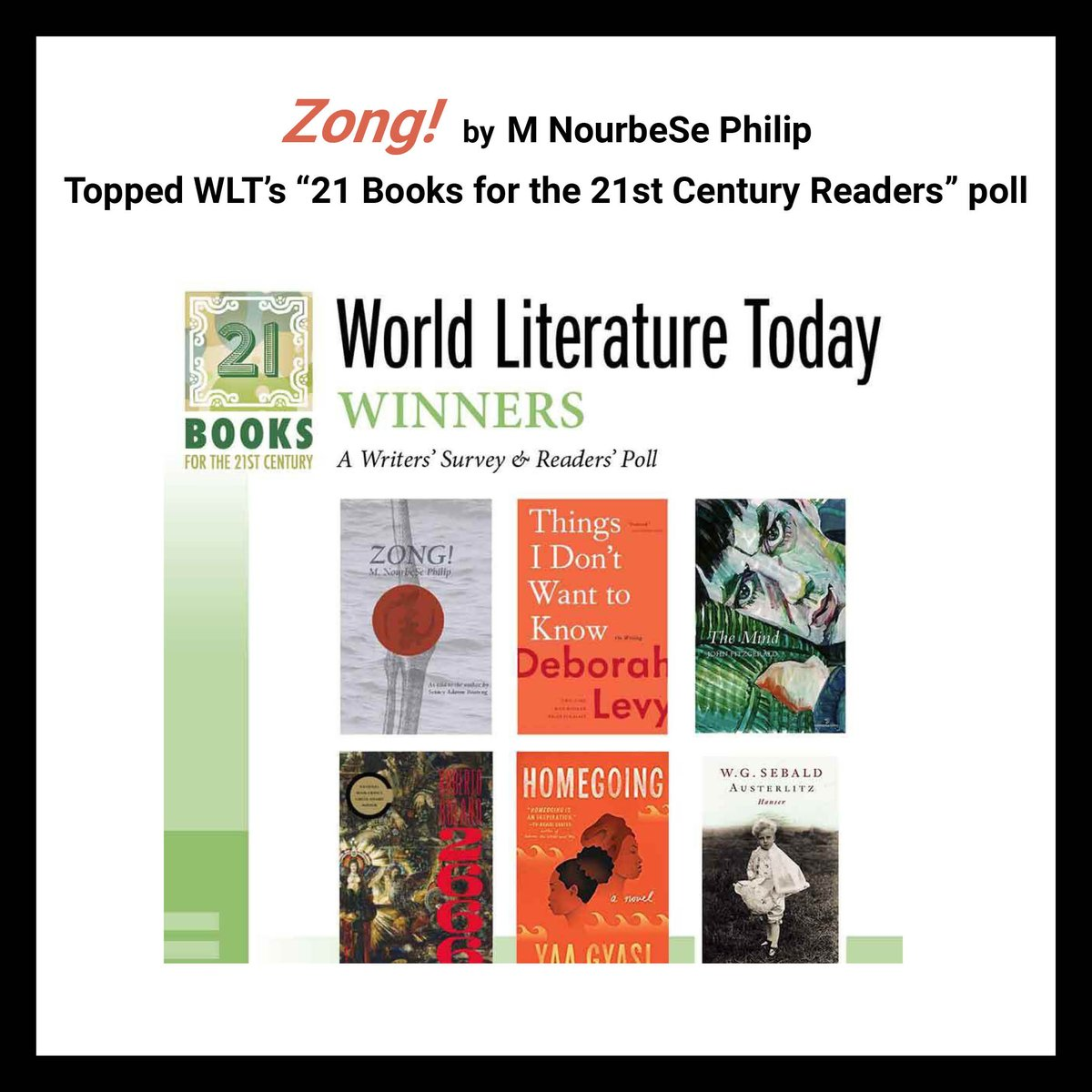 """test Twitter Media - Congratulations M. NourbeSe Philip! """"Zong!"""" voted #1 in #WorldLiteratureToday's """"21 Books for the 21st Century"""" readers' poll!  Read more here: https://t.co/kC8fGyxcji #21books21stcentury #zong @mnourbese #gregsonvgilbert #triangularslavetrade #historymatters https://t.co/L0mpyLUAs3"""