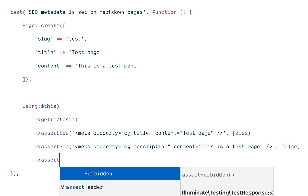 Another pest tip: Create a using() helper to get perfect IDE support on $this calls inside your tests