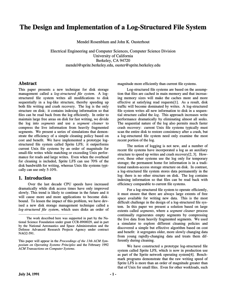 The Design and Implementation of a Log-Structured File System
