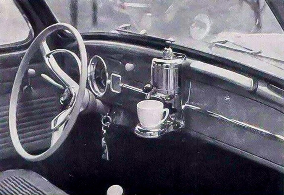 In 1959, a coffee maker was an optional extra in Volkswagen cars - the Hertella Auto Kaffeemachine.