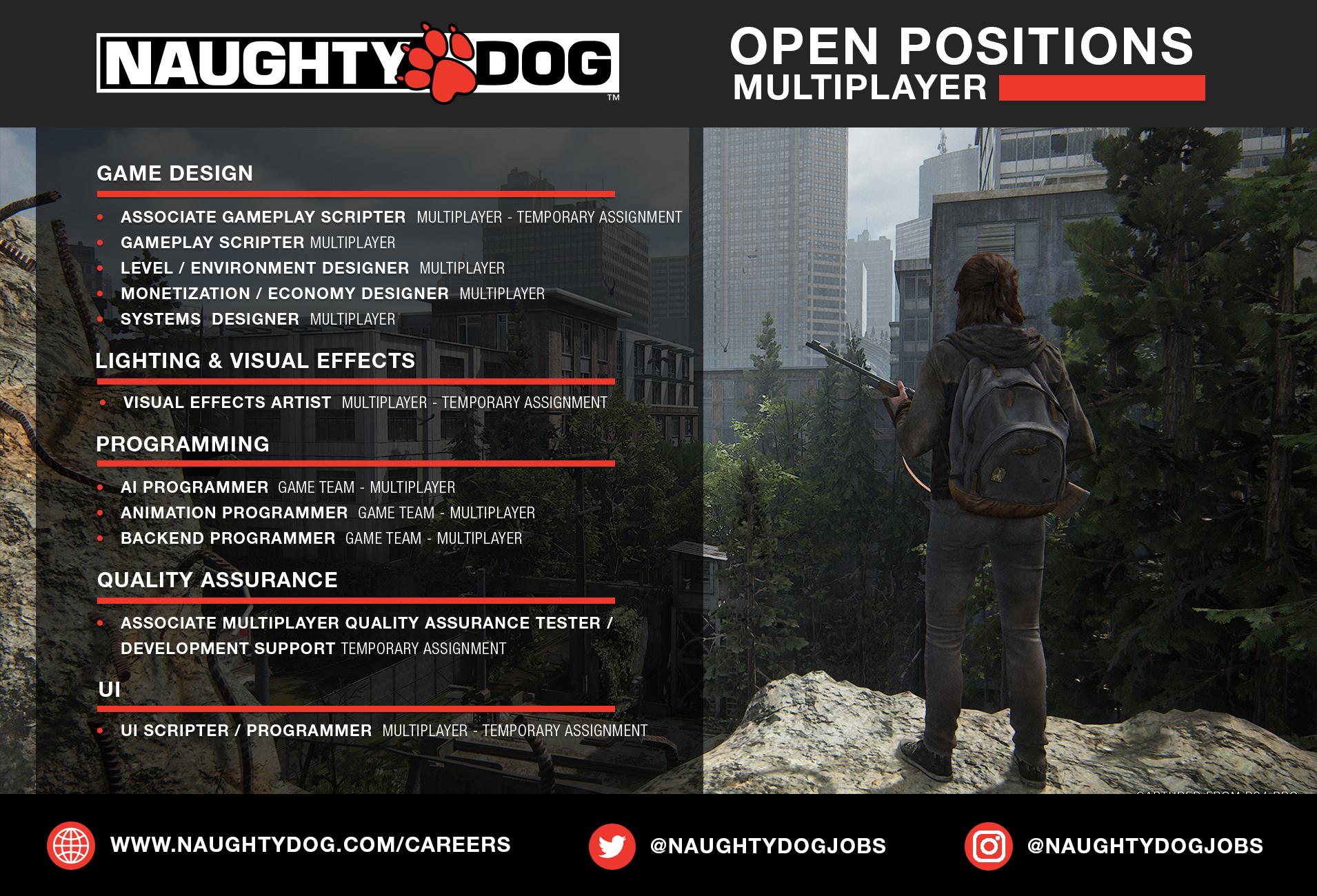 Naughty Dog contrata para multiplayer