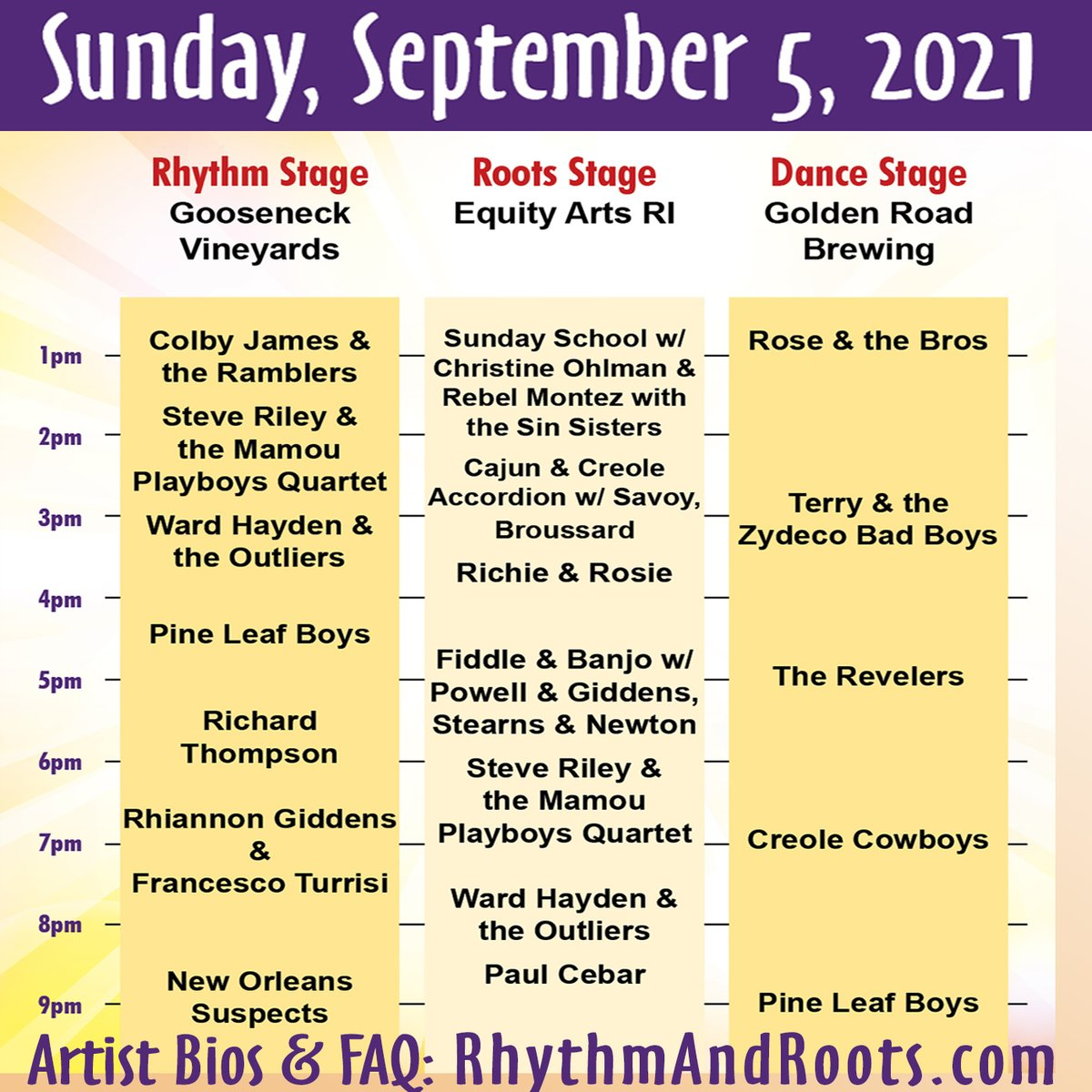 #RRFest2021 Daily Stage Schedule is up! More info: rhythmandroots.com #LaborDayWeekend