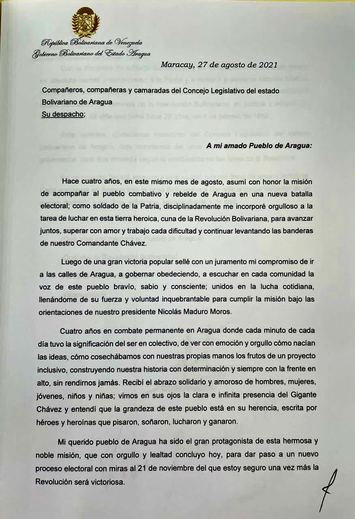 Gobernador del estado Aragua renunció por esta razón