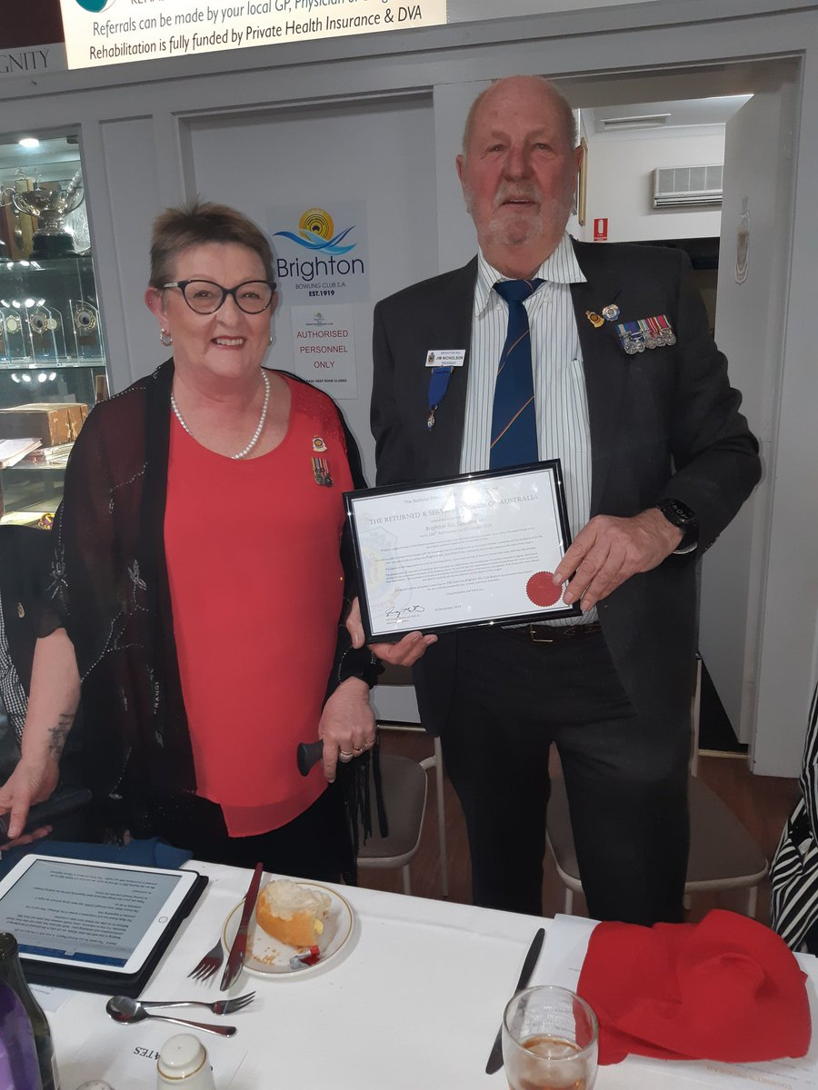 test Twitter Media - At the Brighton RSL annual dinner the RSL State President Cheryl Cates presented Sub-Branch President Jim Nicholson with a 100 year anniversary certificate for Brighton RSL. Congratulations to the team. https://t.co/k3Gq3judoA