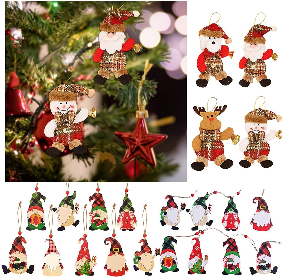 Christmas Wooden Gnome Ornaments Hanging Decoration  Only $1.98!!  Use Promo Code SCGLBXYQ