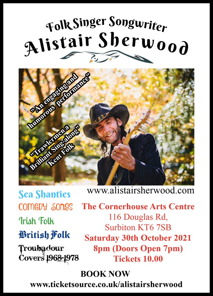 """Music at the cornerHOUSE. Folk singer songwriter Alistair Sherwood is coming to the cornerHOUSE on 30 October as part of a tour to launch his new  release """"Boy from the Bog"""".   Tickets available now at https://t.co/M3IAjH2GmL"""