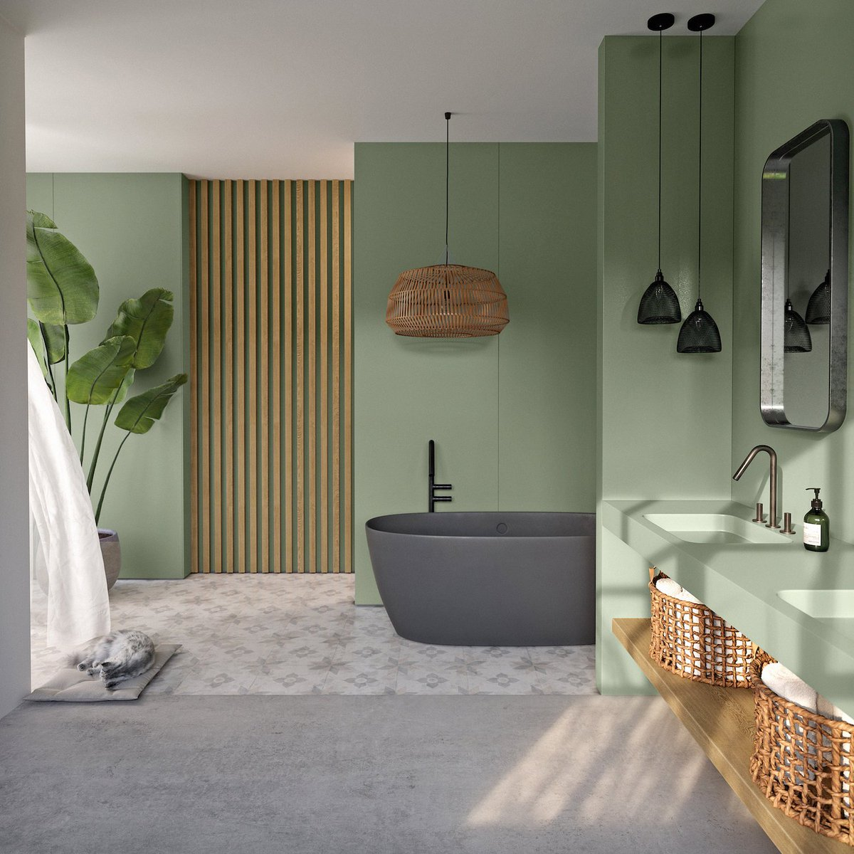 Green bathrooms set the trend! 🟢 🛁 🛠️ If you are planning to renovate your bathroom and want to provide it with a fresh and bold hint, #Silestone Posidonia Green is the answer for that. Check it out at bit.ly/3gQlNrv #SunlitDays #HybriQTechnology