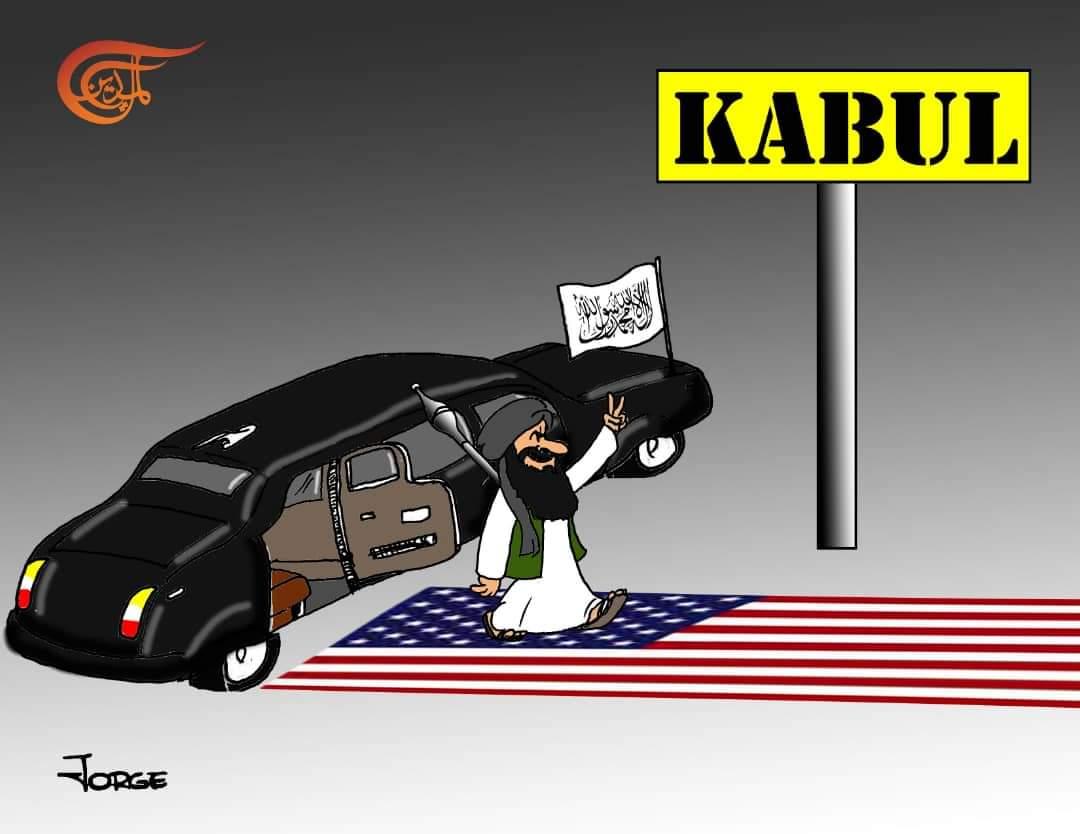 "Laila Tajeldine on Twitter: ""Talibanes entrando con honores en Kabul.  Caricatura @almayadeen_es #Afganistan #EEUU #Talibanes… """
