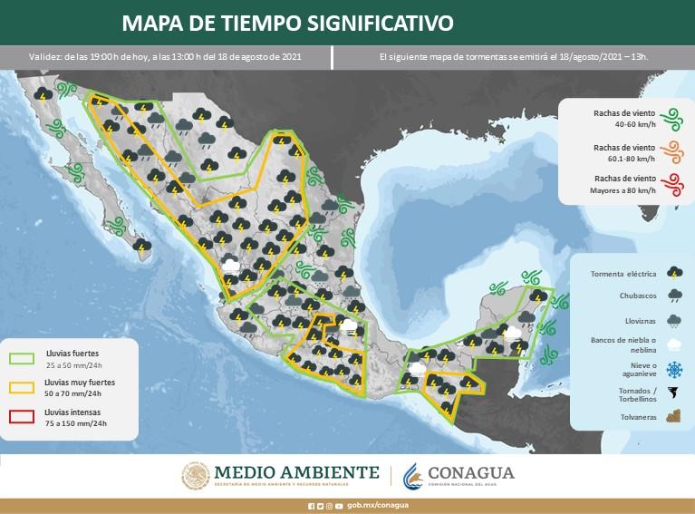 Se pronostican lluvias muy fuertes en los siguientes estados, incluido Oaxaca