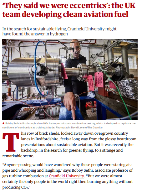 Great article about our @Enableh_2 project by @GwynTopham in the @guardian!  A must read when interested in #hydrogen, #sustainableflying and the #aviation sector of the future! ✈️🌏