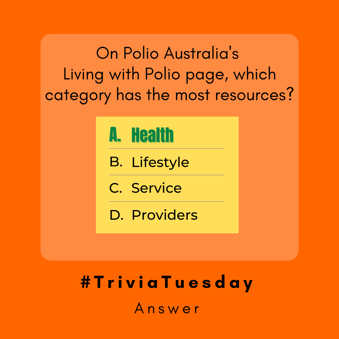 """🤓 The correct answer is our """"Health"""" category. 👩🏫 Our Living with Polio page has many resources available for polio survivors. https://t.co/VjYusnqPcS  ❓ Is there something you would like to learn more about that is not listed in our resources? Comment below."""