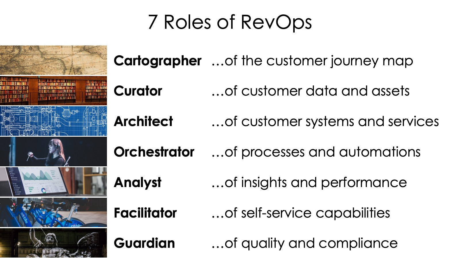 """Still iterating on """"7 Roles of RevOps"""".  I keep searching for a better word than """"Facilitator"""" for the role of enabling self-service capabilities for the broader revenue org, e.g., self-service analytics, self-service workflow automation, etc.  Any suggestions?  #martech https://t.co/ihQrG5E0cZ"""