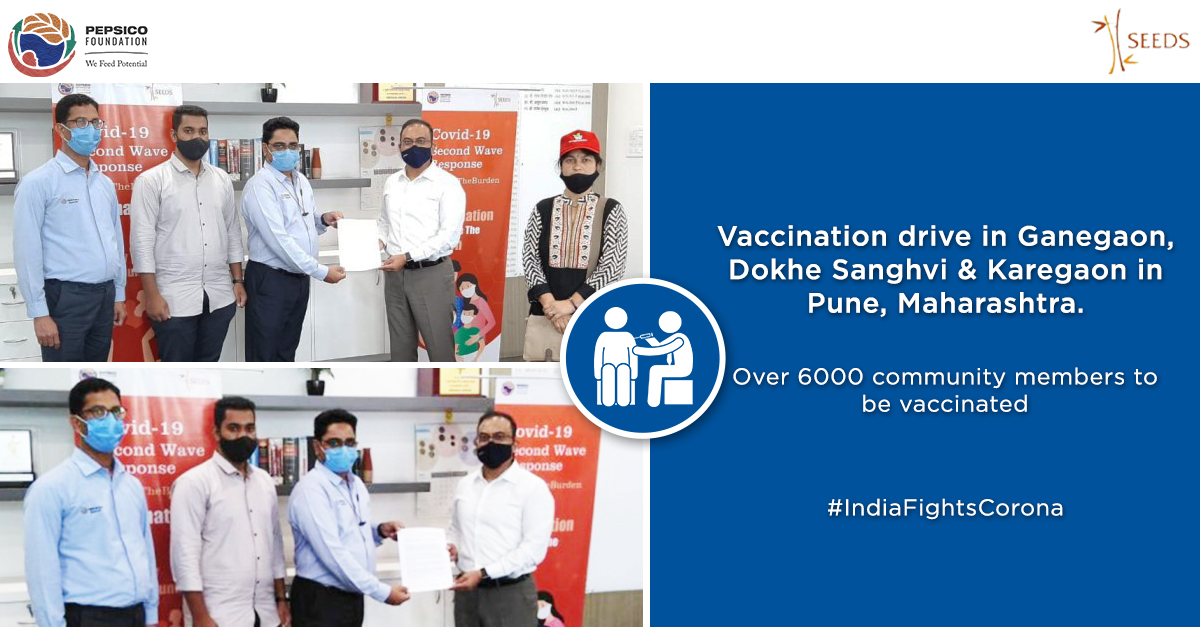 As part of its ongoing efforts to support the Maharashtra Govt in its fight against COVID-19, @PepsiCo Foundation in partnership with @SEEDSIndia conducted a vaccination drive in Ganegaon, Dokhe Sanghvi & Karegaon in Pune. @collectorpune1 @CMOMaharashtra