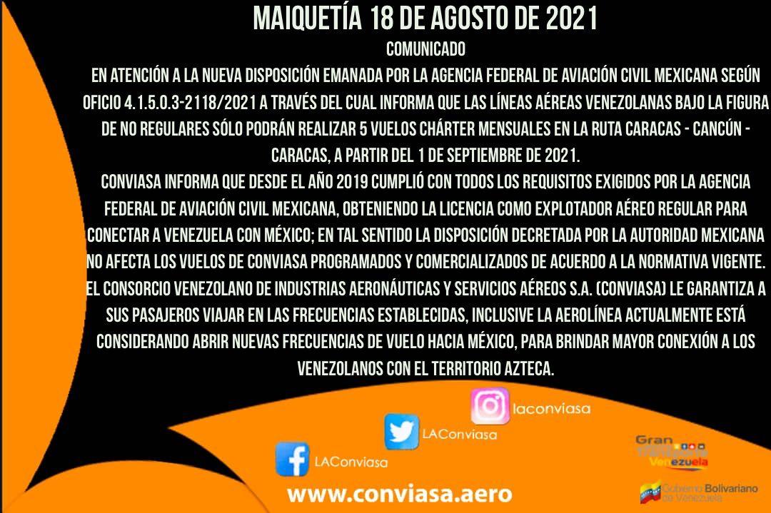 Conviasa ratifica que mantiene operativa la ruta Cancún-Caracas