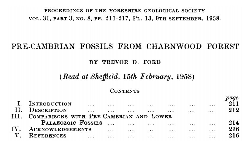 RT @CharnwoodGeo: Happy Birthday to our most famous fossil resident, Charnia!🎉  On this day in 1958, the discovery of Charnia was first published in the Proceedings of the @YorksGeolSoc📰  It's been changing our understanding of the evolution of life on earth ever since!