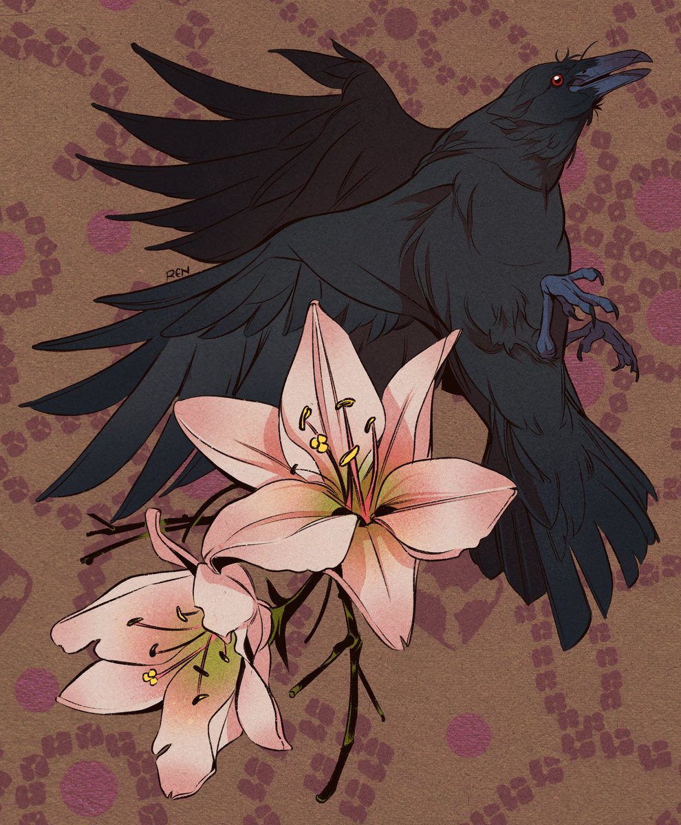 Trickster raven and some dawn-colored lilies; commission piece for Simone