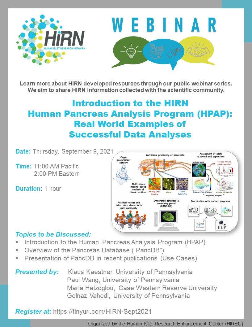 """The video of our #HIRNwebinar on """"Introduction to the HIRN Human Pancreas Analysis Program (#HPAP): Real World Examples of Successful Data Analyses"""" is now available on YouTube. We encourage you to view to learn more about @TheHpap data & the program!  https://t.co/J9ZmHIQ3cK https://t.co/Y05u8tkjTg"""