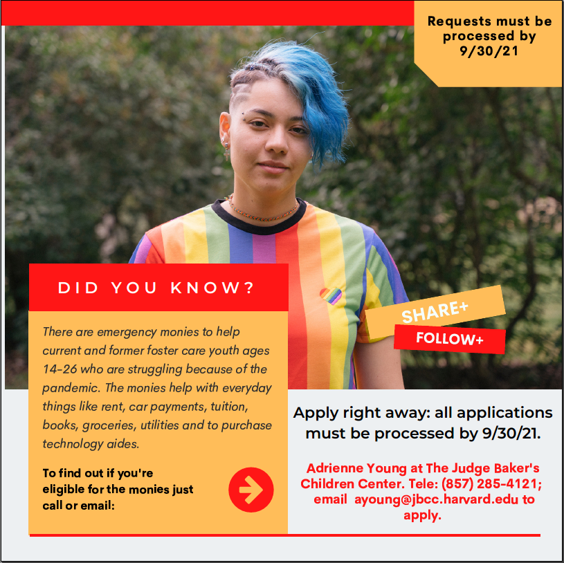 📢 Spread the Word 📢Are you a former DCF foster care youth? Were you in care on your 18th birthday?Well then you may be eligible for financial assistance!Be sure to contact @JudgeBakerCC for more info! https://t.co/EleX6UIJ6g