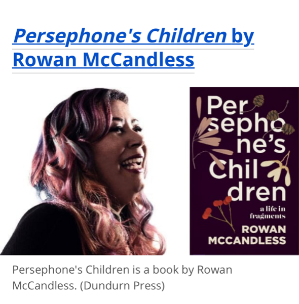 Screenshot of Rowan McCandless with pink hair laughing and the cover of her book Persephone's Children and various flowers on it