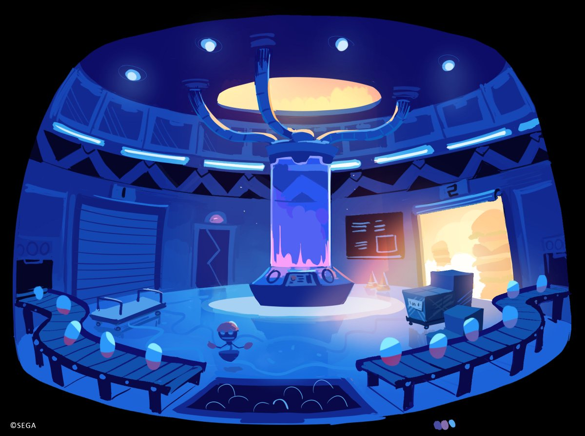 Concept art of Orbot in Eggman's lab with wisp capsules gathering along a conveyor belt.