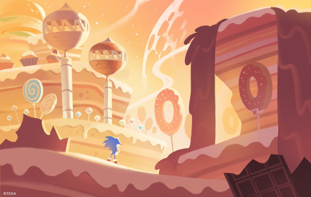 Concept art of Sonic standing in the foreground of Sweet Mountain, with candy-like environment all around him.