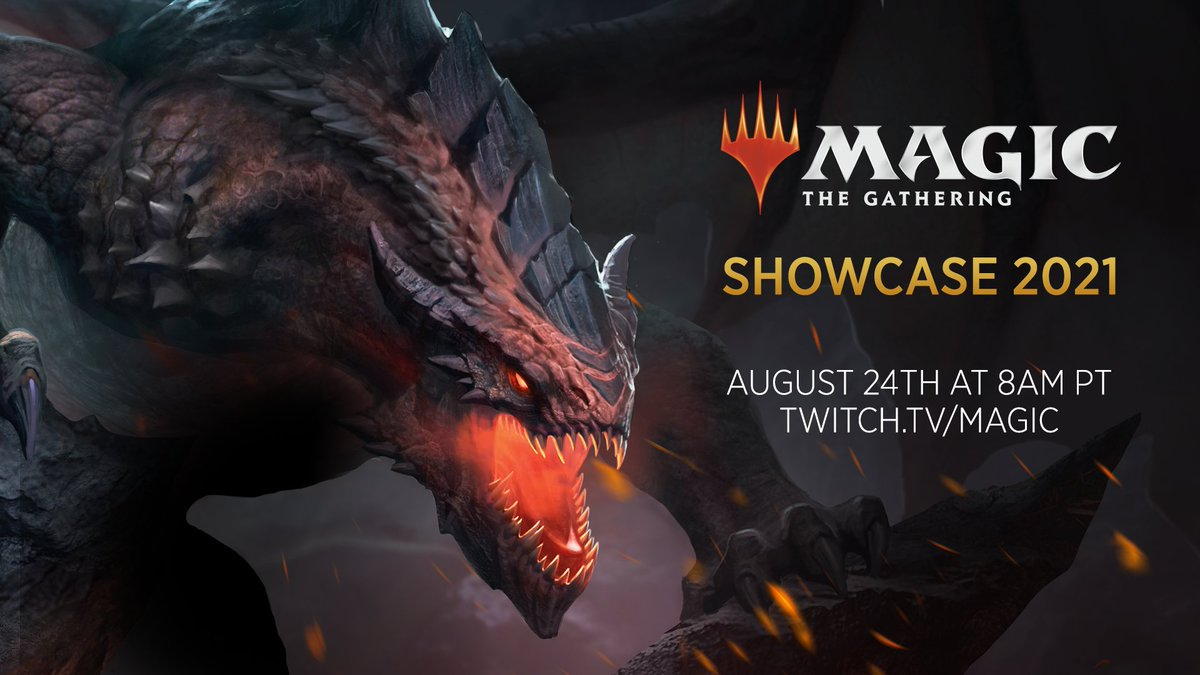 """Magic: The Gathering on Twitter: """"The Magic Showcase 2021 event happens next week! Tune in on August 24th at 8am PT on https://t.co/nUzYF5lf0v to learn about what's coming to tabletop, MTG Arena,"""