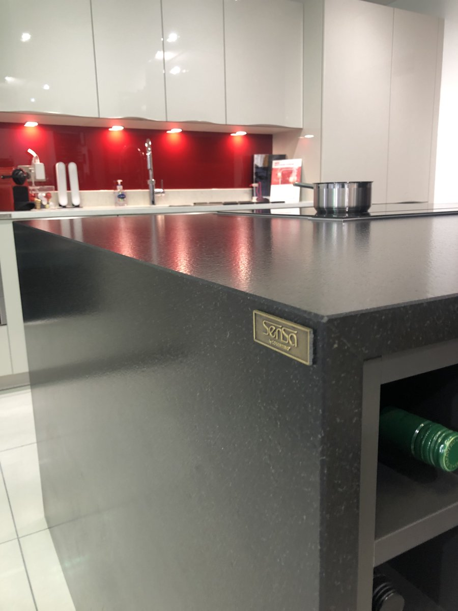 Sensa by @CosentinoUK is made from natural stone (granite and quartzite) which is treated to make it highly stain resistant without maintenance. What's more, it comes with a 15-year warranty. Visit our showroom to see more, #kitchenworktop #kitchen #kitchendesign #worktop
