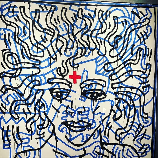 Happy Birthday to the King!   (art by Keith Haring, image via