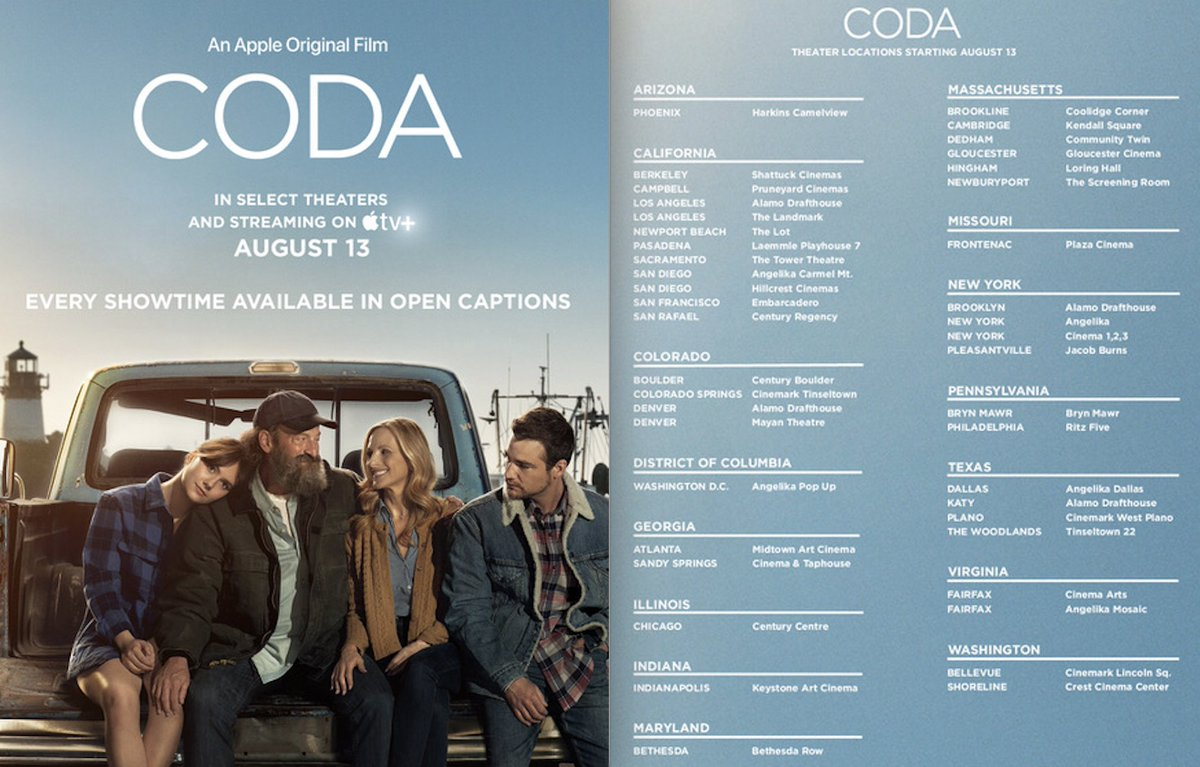 #CODAfilm is playing in the following theaters. It should be in every theater...it's an AMAZING film with a great cast, direction, sound design, cinematography, story etc....and the silence in it is breathtaking. You won't be disappointed. CODA is also streaming on @AppleTVPlus https://t.co/ma1gyMatXp