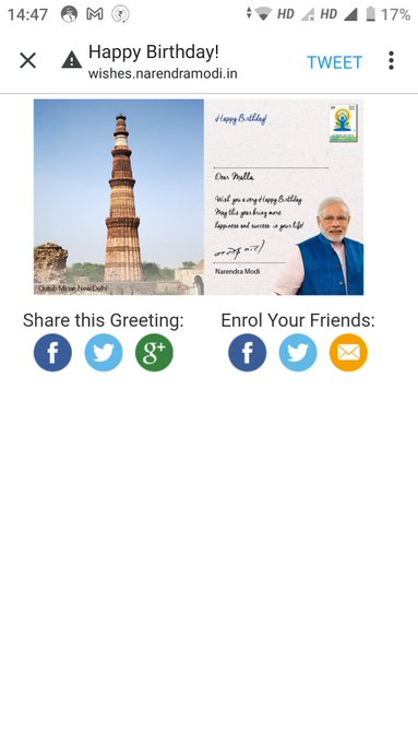 I am very very happy because I received Birthday Greetings directly from PM Narendra Modi