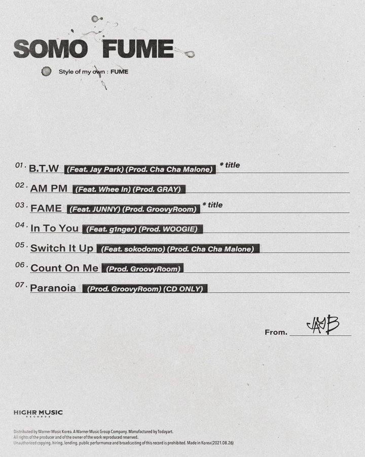 The list of all the songs