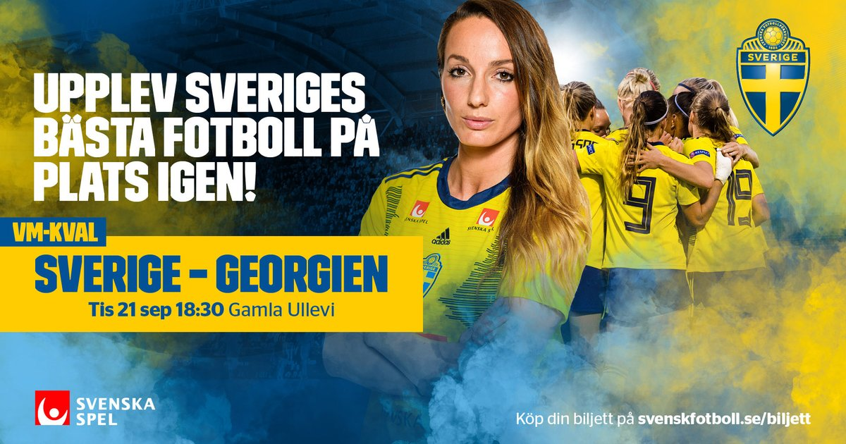 Den 21 september kan du uppleva Sveriges bästa fotboll live på Gamla Ullevi i Göteborg! Då hälsar vi de svenska silverhjältarna från OS i Tokyo välkomna hem till sin Nationalarena för att möta Georgien i VM-kvalet. https://t.co/xagoFp2Xm7 https://t.co/Y3nFVs820s