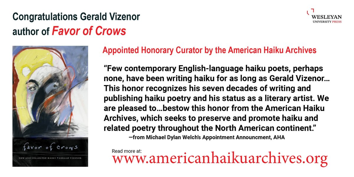 test Twitter Media - Congratulations Gerald Vizenor! Appointed Honorary Curator (2021–2022) by the American Haiku Archives at the California State Library (Sacramento) #GeraldVizenor #AmericanHaikuArchives #NativePoetry #IndigenousPoetry #Haiku #WhiteEarth #favorofcrows https://t.co/oGR1XGfU9w