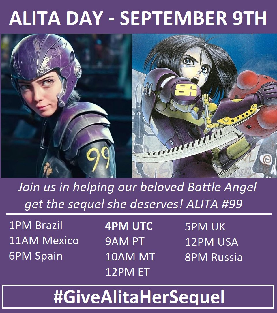 Join us in helping our beloved Battle Angel get the sequel she deserves! On September 9th it is ALITA DAY. Start getting your tweets ready for the event starting 4PM UTC. #GiveAlitaHerSequel #AlitaDay are the hashtags.