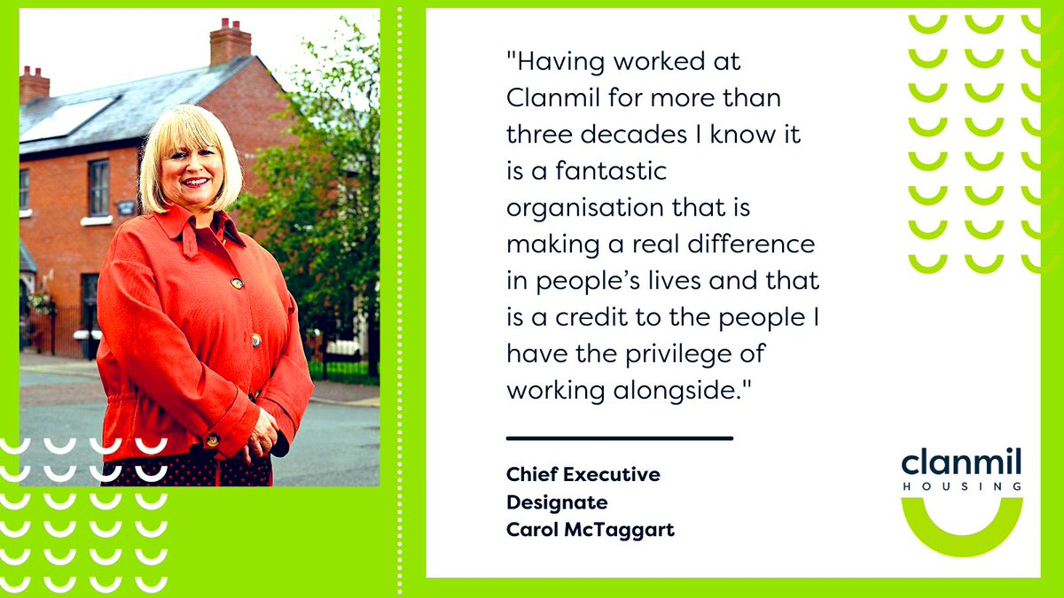 Congratulations to Carol McTaggart. We've worked with Carol and @ClanmilHousing for many years and her passion for #socialhousing cannot be underestimated. We look forward to many more years working together to deliver quality social & affordable homes in NI #housingassociations