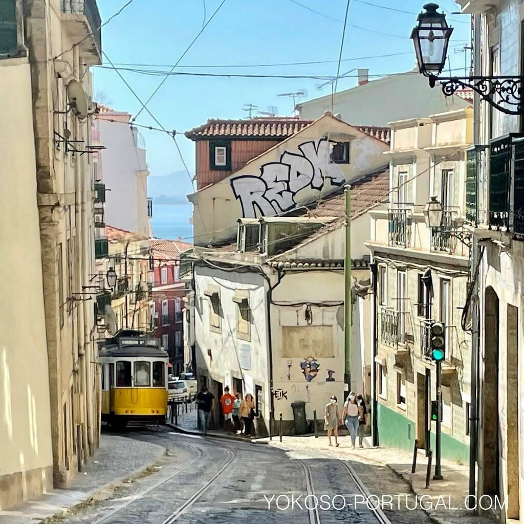 test ツイッターメディア - リスボンの路面電車28番。アルファマ地区のこの場所は1車線になり、細い路地を通り抜けます。1番狭いところで出会ってしまった場合は、背中を壁にくっつけないといけないほどギリギリです。 #ポルトガル #リスボン #路面電車 https://t.co/3KVq3i4ieo